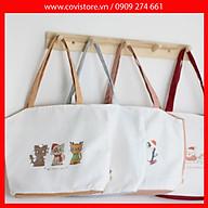 Túi tote vải canvas phom ngang phối hình in chủ đề thời trang COVI nhiều màu sắc T14 thumbnail