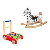 Bộ đồ chơi xe tập đi và ngựa gỗ bập bênh thumbnail