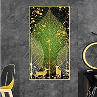 Tranh Treo Tường Tráng Gương PVC-HD Họa Tiết Hươu Nai Phong Thủy Mang Tài Lộc, May Mắn, Thịnh Vượng Kích Thước 40 x 80 cm thumbnail