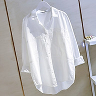 Áo sơ mi nữ cổ đức form rộng chất đũi 2 túi ốp trẻ trung ArcticHunter, thời trang trẻ, thương hiệu chính hãng thumbnail