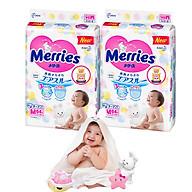 Combo 2 Tã Dán Merries M64 tặng khăn tắm sợi tre hình thỏ đáng yêu và đồ chơi tắm Toys House thumbnail
