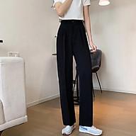 Quần Tây nữ Lưng cao Dáng suông Form rộng Ống đứng Màu trơn Ulzzang Hàn Quốc Quần Tây nữ Công sở Cạp cao thumbnail