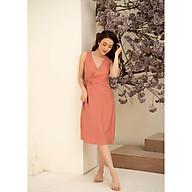 Đầm váy ngủ mặc nhà nữ Freedy sát nách hồng cam vạt chéo thắt nơ thumbnail