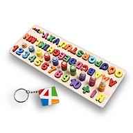 Bảng chữ cái Tiếng Việt và số cho bé kèm hình khối cột tính bậc thang, đồ chơi học tập, bảng ghép hình bằng gỗ thuộc giáo cụ Montessori giúp phát triển trí tuệ và kỹ năng cho trẻ Tặng Kèm Móc Khóa 4Tech. thumbnail