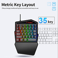 T-WOLF T19 Wired One-handed Gaming Keyboard 35 Key Colorful RGB Backlight Ergonomic Design Keyboard for thumbnail