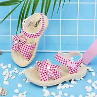 Dép sandal thắt nơ xinh xắn cho bé gái kẻ ca rô thumbnail