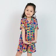 Đồ bộ pijama bé gái áo cộc quần đùi bảy sắc thumbnail