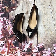 Giày cao gót da bóng mũi nhọn trang trí đính nơ gót trụ 5cm dáng công sở cổ điển S28 - Đen thumbnail