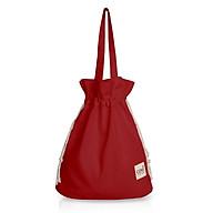 Túi tote thời trang Covi miệng rút phong cách Hàn quốc màu đỏ vải canvas thumbnail