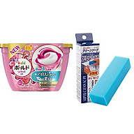 Combo Hộp 18 viên nước giặt xả hương hoa + Xà phòng thanh giặt cổ áo nội địa Nhật Bản thumbnail