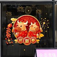 Decal dán tường, dán kính, trang trí Tết Tân Sửu- Trâu vàng chào xuân- mã sp QR209170 thumbnail