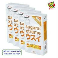 Combo 4 Hộp Bao Cao Su Siêu Mỏng Co Dãn Sagami Xtreme Super Thin 40 Cái (Che tên sản phẩm) thumbnail