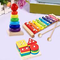 Combo 3 món đồ chơi gỗ cho bé phát triển trí tuệ GT ( Đàn gỗ, Trụ thả hình 4 cọc, tháp cầu vồng ) thumbnail
