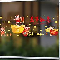 Decal dán kính trang trí Tết- Trâu vàng bên hũ tiền- mã sp AMJ930 thumbnail