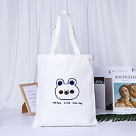 XU HƯỚNG TRẺ_ Túi Tote, Túi Bầu In Gấu Happy Time Vải Canvas Đeo Vai Xinh Xắn Siêu Cute thumbnail
