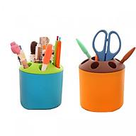 Combo 02 cốc nhựa đa năng cắm bút,kéo, đựng bàn chải đánh răng, phụ kiện nhiều màu thumbnail