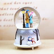 Quả cầu tuyết tình nhân V.32 có nhạc có đèn thổi tuyết Mẫu 2, Quả cầu pha lê tuyết phát nhạc hình cặp đôi tình nhân thumbnail
