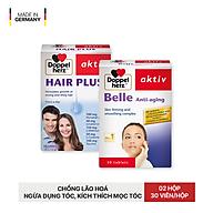 Bộ đôi chống lão hóa, ngăn ngừa rụng tóc, kích thích mọc tóc Doppelherz Belle Anti Aging và Hair plus (02 hộp 30 viên) thumbnail