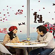 Decal dán tường uyên ương mới và cây trái tim tình yêu thumbnail