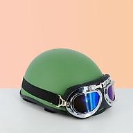 Mũ bảo hiểm nửa đầu 1 2 SRT - Mũ bảo hiểm trơn ( lồng ép nhiệt ) - Xanh lính nhám, tặng lưỡi trai thumbnail