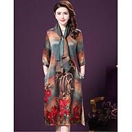 Đầm suông trung niên in họa tiết phối khăn rời thumbnail
