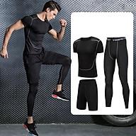 Set 3 in 1 Quần áo gym nam, Quần áo legging nam, Quần áo gym giữ nhiệt nam - Thích hợp tập gym, đá bóng, chạy bộ, bóng rổ hoặc giữ ấm cơ thể - Quần áo tập gym nam chất liệu thun lạnh cao cấp ôm body (SP001) thumbnail