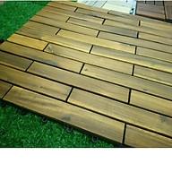 Sàn gỗ tự nhiên kết hợp đế nhựa chống trơn trượt,không thấm nước,kích thước 60x30 cm,5.5 tấm 1m2,IKLV,nâu vàng.1 TẤM. thumbnail