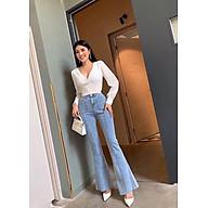Quần jean nữ ống loe chít thân lưng cao tôn dáng khoe chân dài (hợp với dáng người cao từ 1m60 trở lên) thumbnail