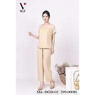 Đồ bộ bigsize - Đồ bộ trung niên - Bộ đồ trung niên mặc nhà bigsize Vicci DGD.02 thiết kế áo cộc quần dài chất liệu đũi cao cấp (dành cho người béo) thumbnail