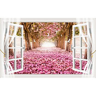 Tranh dán tường 3d cửa sổ hoa đào ép lụa kim sa có sẵn keo CS35 thumbnail