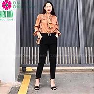 Quần baggy nữ Hiền Trần BOUTIQUE cạp cao chất vải cao cấp đồ công sở đai ô vuông form dáng đẹp thumbnail