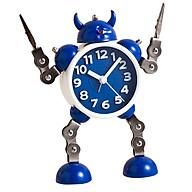 Cartoon Robot Bedside Silent Analog Alarm Clock Wake Up for Kids Blue thumbnail