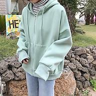 Áo khoác nữ dây kéo basic ulzzang - Áo khoác nỉ bông dày dặn có zipper màu đẹp thumbnail