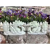 Cặp Rồng nằm phong thủy đá cẩm thạch trắng xanh - Dài 20 cm thumbnail