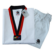 Võ Phục Taekwondo Black Eagle Cổ Đỏ Đen Vải Sọc DPVTTAECDDVSBE - Trắng thumbnail