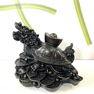 Tượng đá long quy cõng thỏi vàng (Rùa đầu rồng) trang trí phong thủy - Cao 10cm - Màu Nâu Đen thumbnail