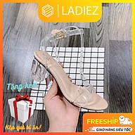 Dép Cao Gót Nữ Thời Trang Cao Cấp Ladiez, Sandal Quai Ngang Mảnh Trong Suốt Gót Vuông Đế Cao 5cm Êm Chân Xinh Xắn Siêu Đẹp thumbnail