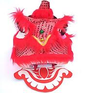 Đầu lân trung thu tròn có đèn 30cm x 29cm x 25cm - màu đỏ (kèm đuôi) thumbnail