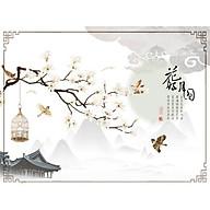 Decal trang trí tết -cành mai vàng chim én thumbnail
