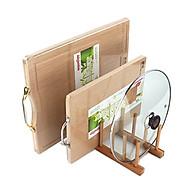 Giá kệ gỗ Tre mini đa năng úp đĩa thớt vung xoong tiện dụng - Loại 6 ô gỗ tự nhiên thumbnail