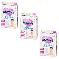 Bộ 3 bỉm dán Merries Size M64 mềm mịn, thấm hút nhanh (6-10kg) 64 miếng - Hàng nội địa Nhật thumbnail