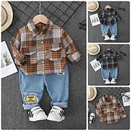 Đồ Bộ cho bé trai. Quần jean + áo sơ mi sọc đen nâu BS9 Size80-120 Thời trang trẻ Em hàng quảng châu thumbnail