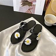 3K03 Sandal đính 2 hoa cúc ulzzang form nhỏ hơn 2 size thumbnail