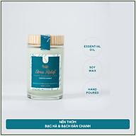 Nến thơm hương bạch đàn chanh và bạc hà tinh dầu thiên nhiên cao cấp - Bấc gỗ, không khói - Sáp nành [Stress Relief Candle] thumbnail