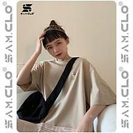 Áo thun tay lỡ nữ freesize phông form rộng Unisex, mặc cặp, nhóm, lớp in hình CÔ GÁI ÔM CON VỊT màu nude sữa thumbnail