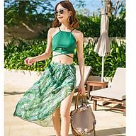 Bộ đồ tắm đồ bơi nữ 2 mảnh bikini tắm biển kèm váy hoạ tiết sexy thumbnail