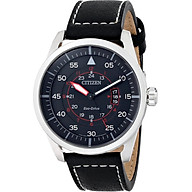 Citizen Eco-Drive Men s AW1361-01E Sport Stainless Steel Watch with Leather Band thumbnail