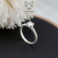 Nhẫn Bạc Nữ Cao Cấp S99 CaoBac Silver Đính Đá Ổ Đá Cạnh Xoắn Phong Cách Đơn Giản Xinh Xắn thumbnail