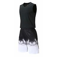 Bộ quần áo bóng rổ trơn Đen - Bộ quần áo bóng rổ để in áo đội- Quần áo bóng rổ không logo - Mẫu 3-2021 thumbnail