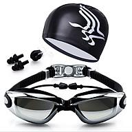 Bộ kính bơi mắt tráng GƯƠNG 6615 - gồm Mũ bơi, Bịt tai + Kẹp mũi cao cấp. thumbnail